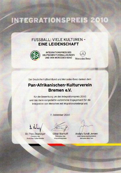 Integrationspreis Deutscher Fußballbund 2010